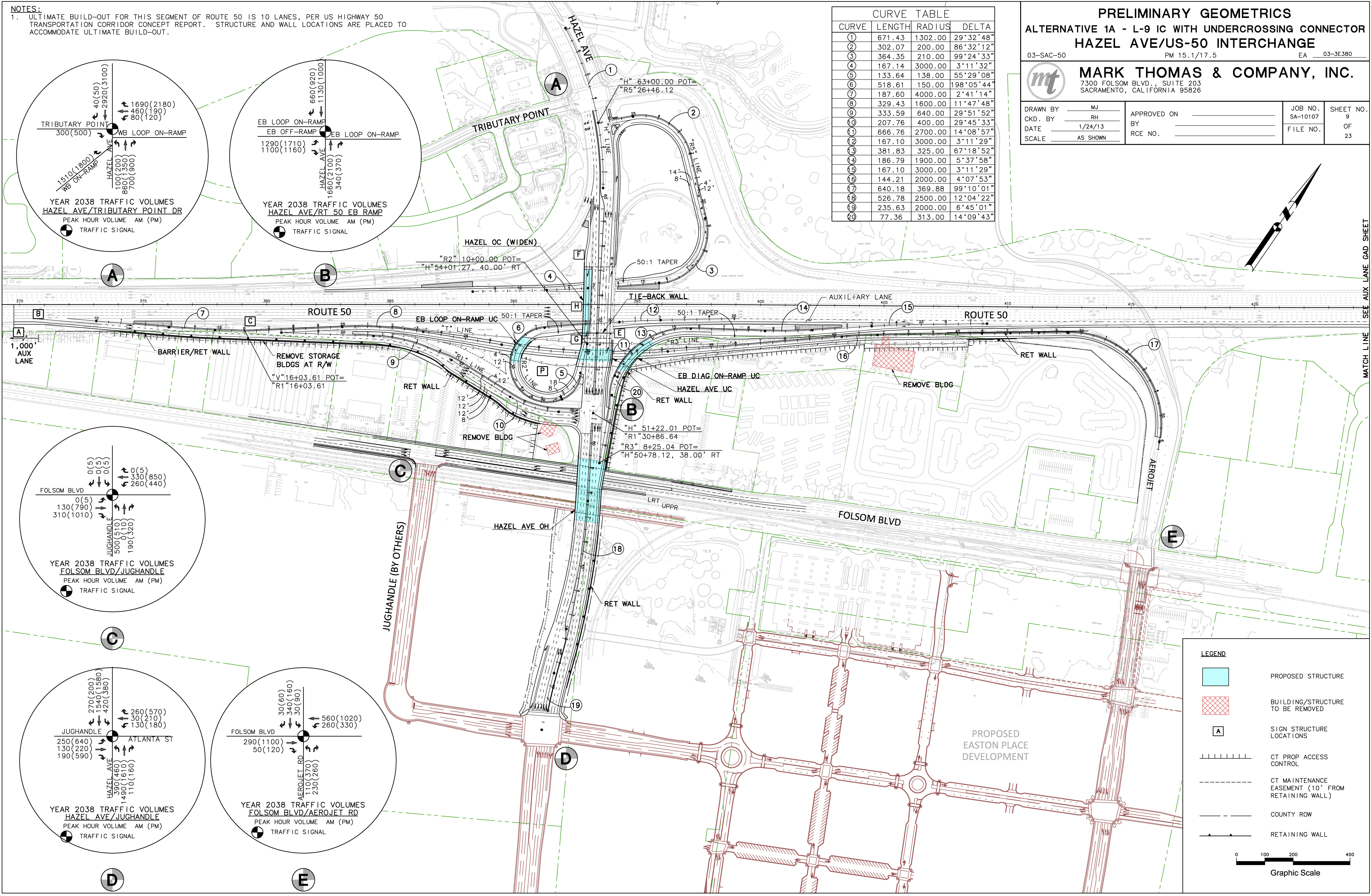 Hazel Avenue At State Route 50 Interchange Wall Schematic Engineering Diagram